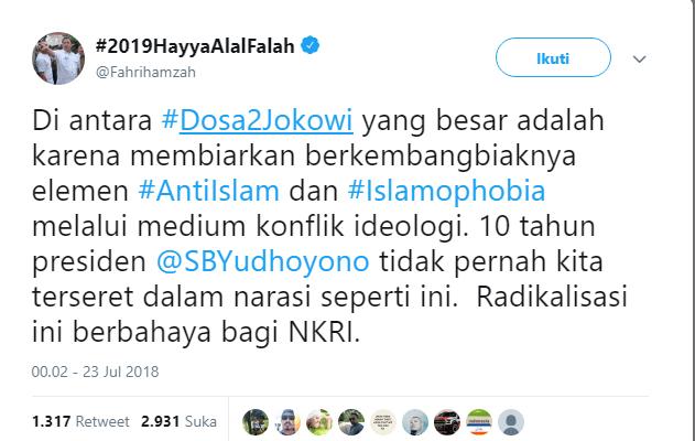 Kata Fahri Hamzah Ada Elemen Anti Islam Berkembang Biak, Benarkah Demikian?