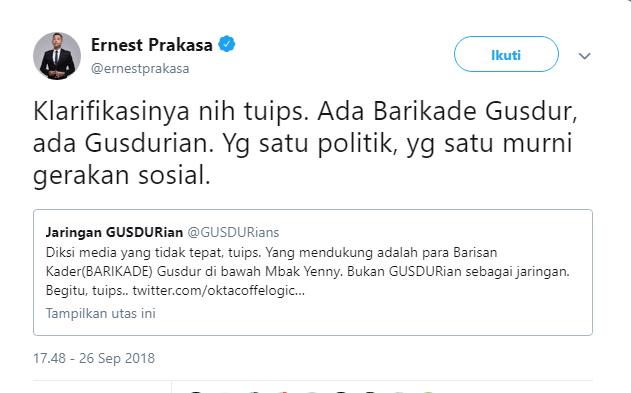 Ernest Prakasa Jelaskan Bedanya Barikade Gus Dur dan Jaringan GUSDURian
