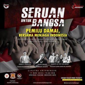 Malam Ini, Komedian, Musikus dan 1000 Pemuda Lintas Iman Gelorakan Pemilu Damai 2019