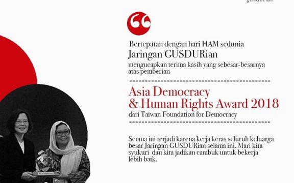 Kerja untuk Masyarakat, Jaringan Gusdurian Dianugerahi Asia Democracy and Human Right 2018